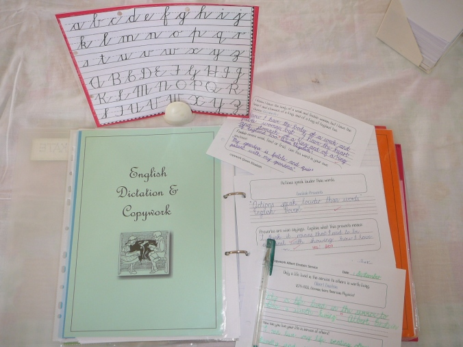 Handwriting chart & copywork pages