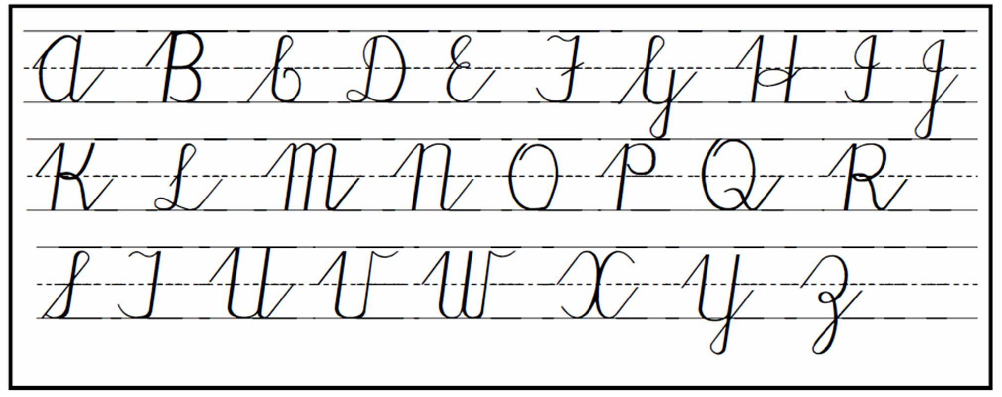 Cursive writing alphabet chart worksheet script Calligraphy pages