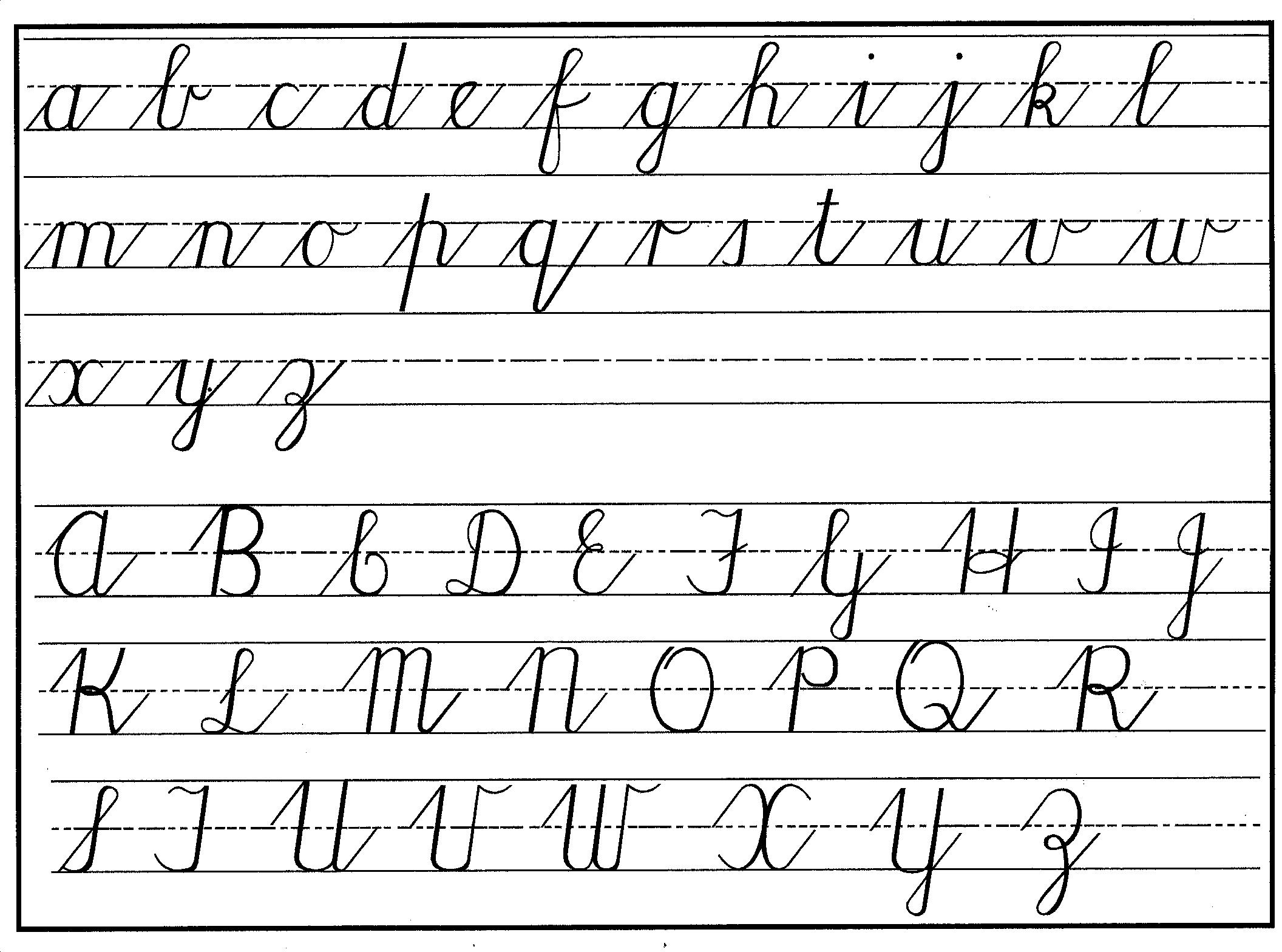 cursive handwritng chart lower & upper
