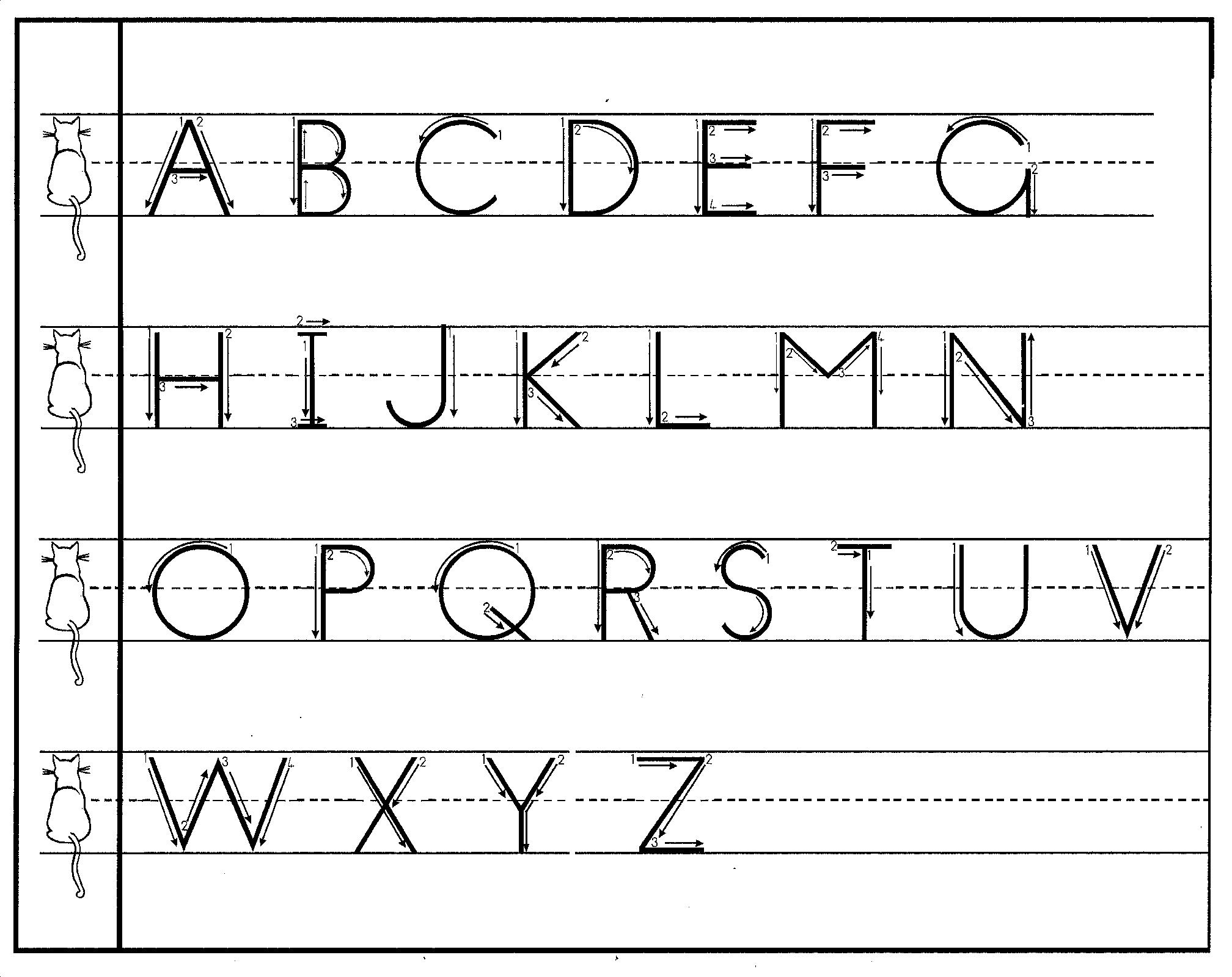 upper case letters free print handwriting charts practical pages 11349 | print upper arrows cat
