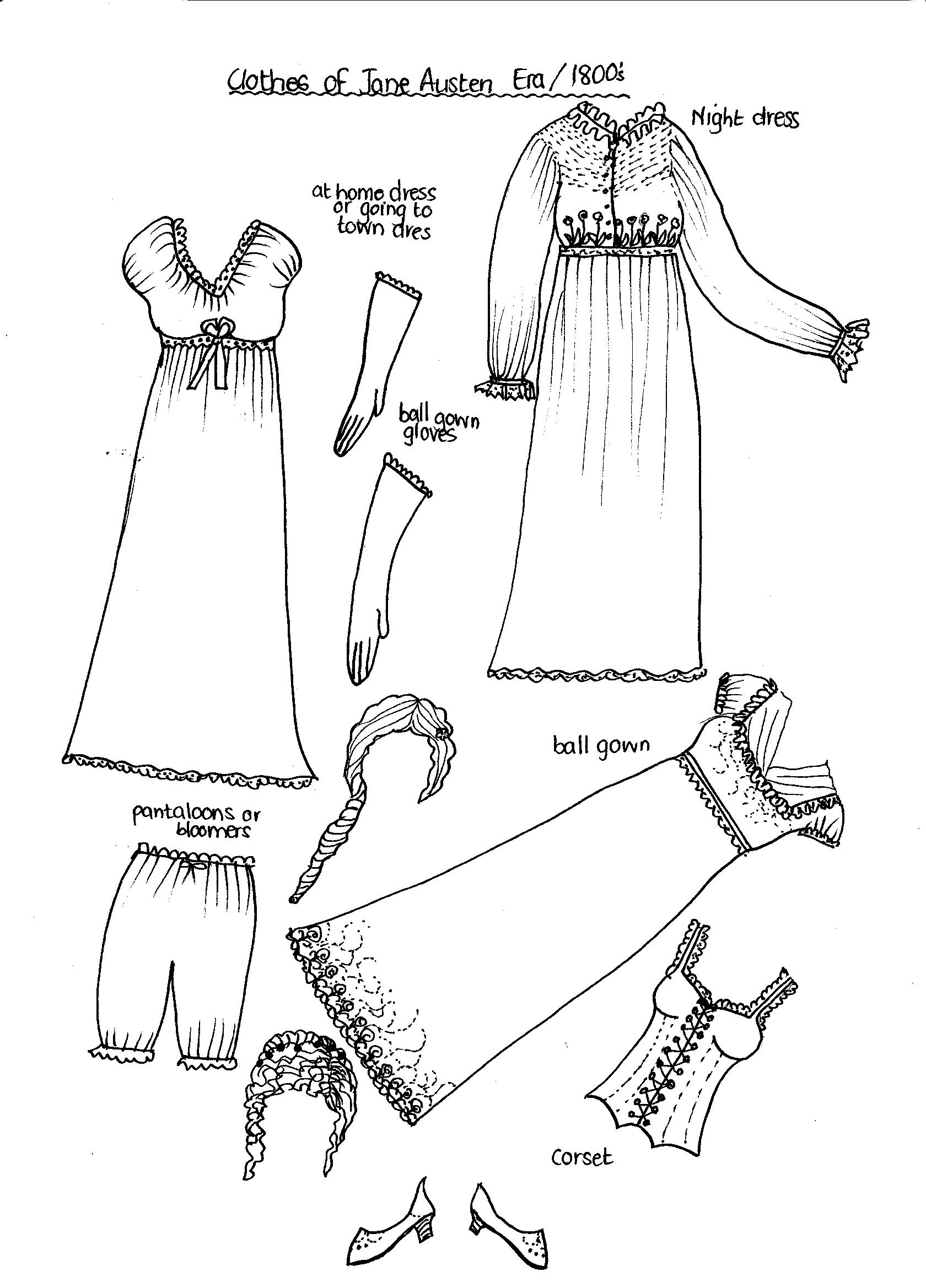 clothes coloring pages - new paper dolls fashions through the past eras