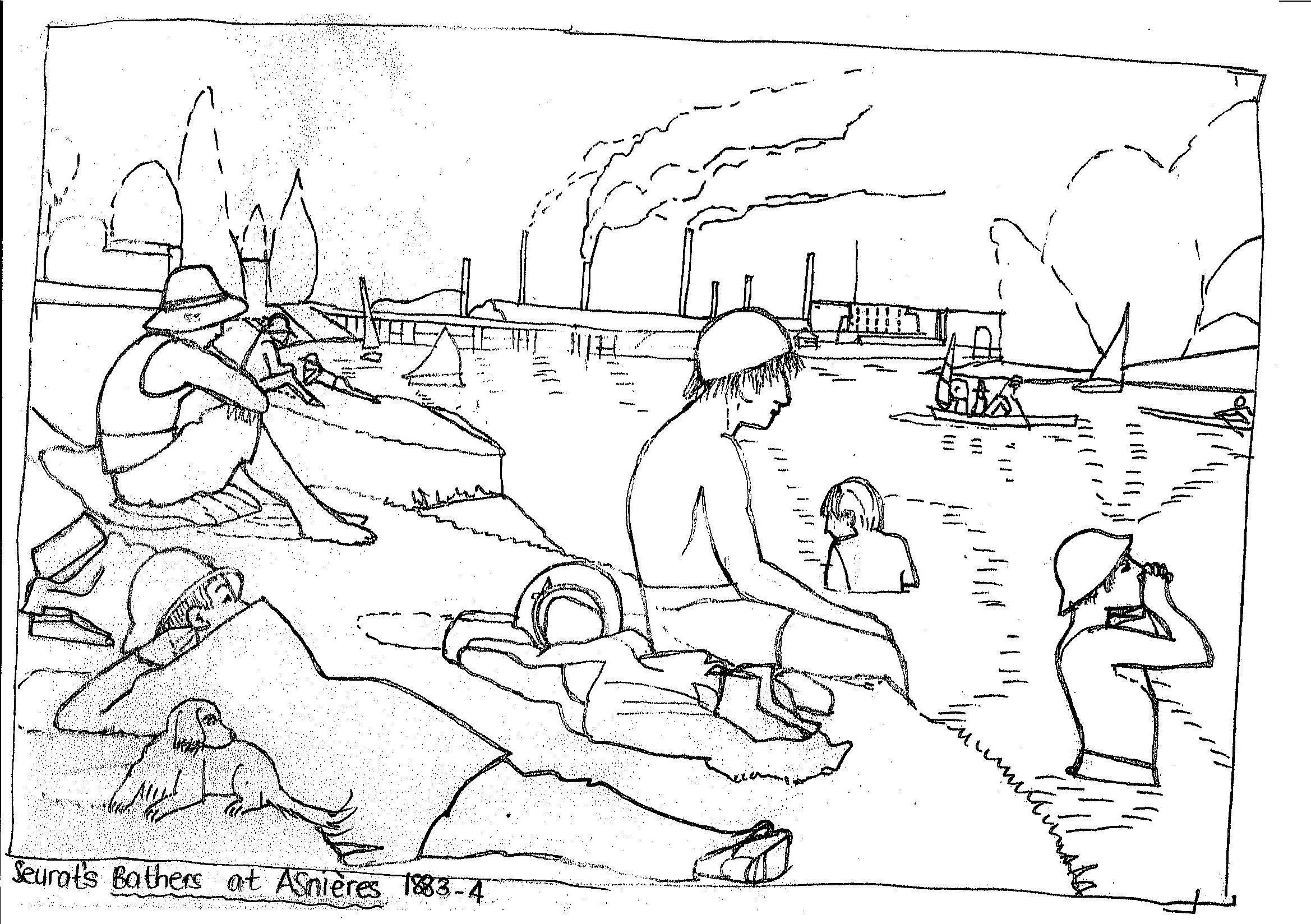 "Line Drawing Famous Artists : D model of seurat s ""bathers at asnieres practical pages"