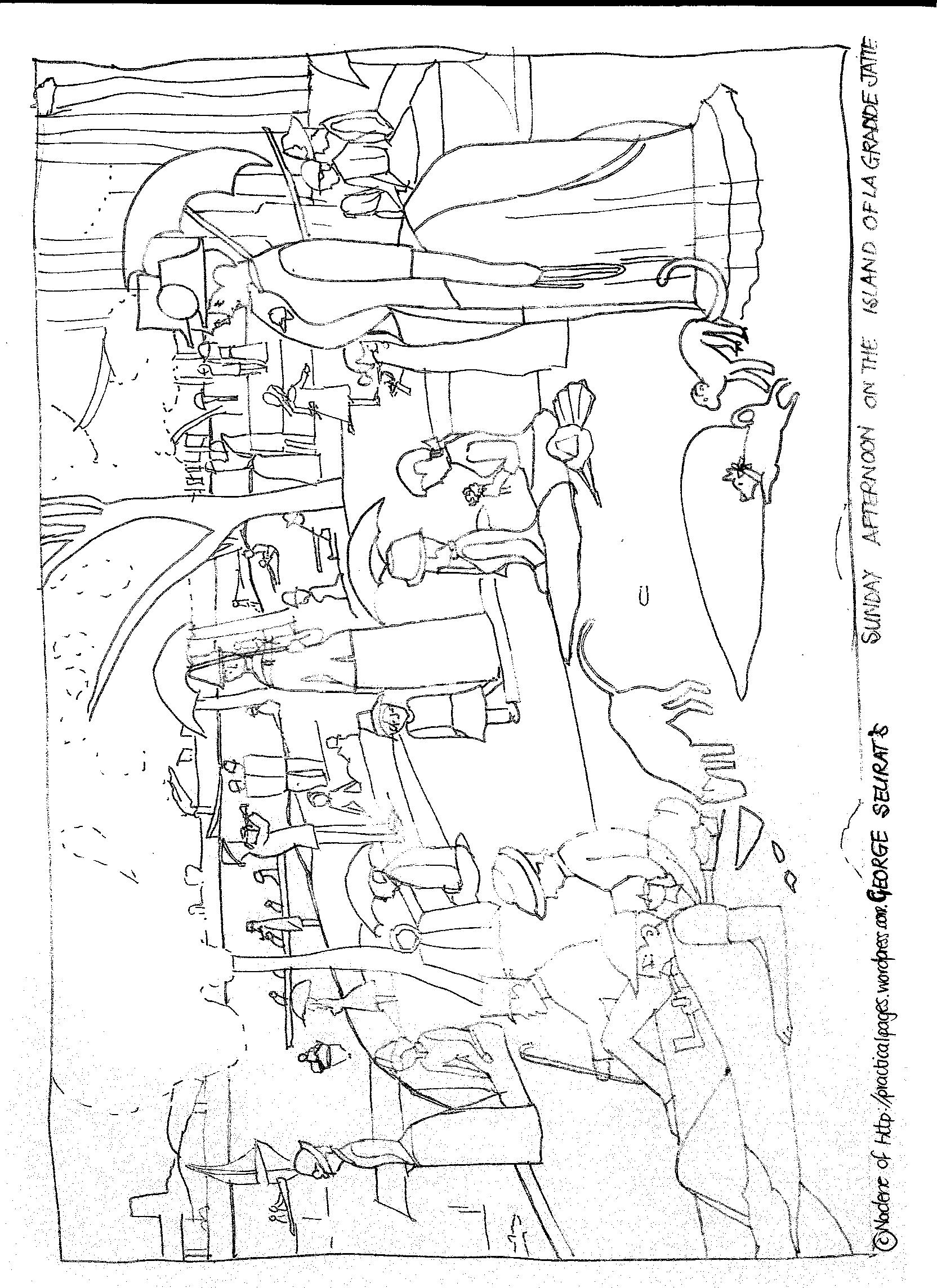 seurat coloring pages seurat s sunday afternoon on the island art appreciation