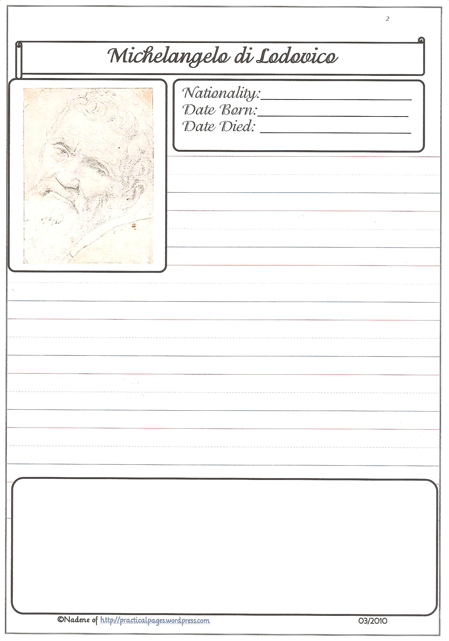 historical biography template - famous artists practical pages