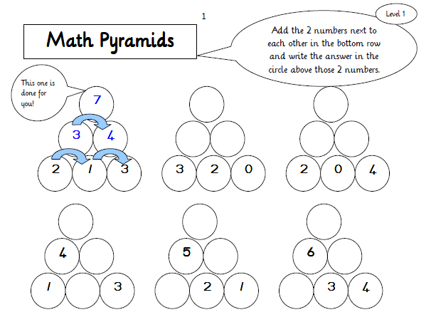 Maths – Math Pyramid Worksheet