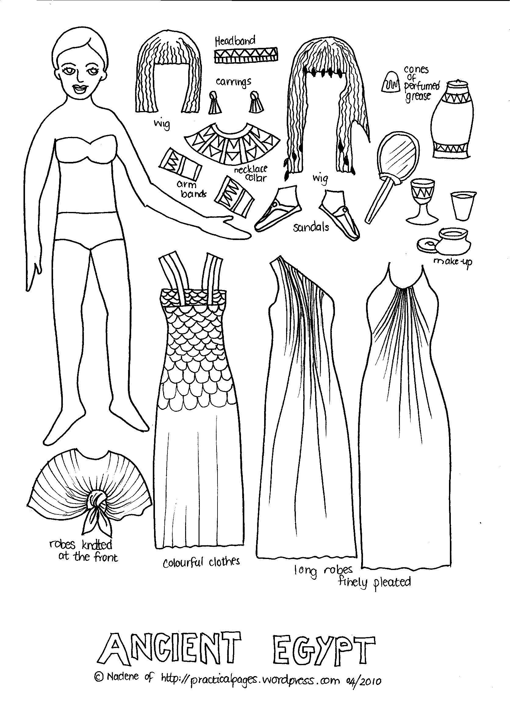 egyptian clothing women colouring pages