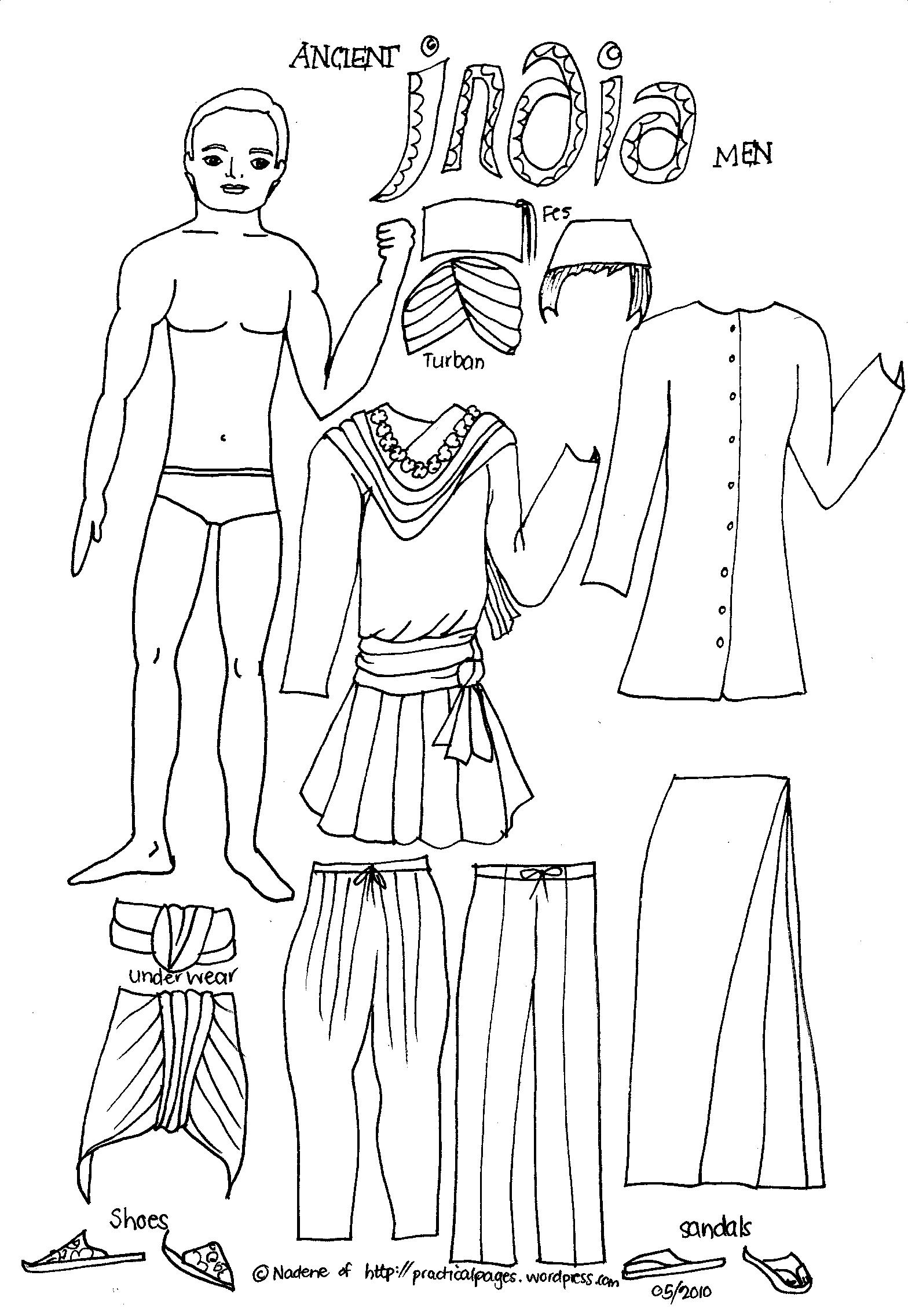 Ancient egypt paper dolls coloring pages ancient egypt for Ancient india coloring pages