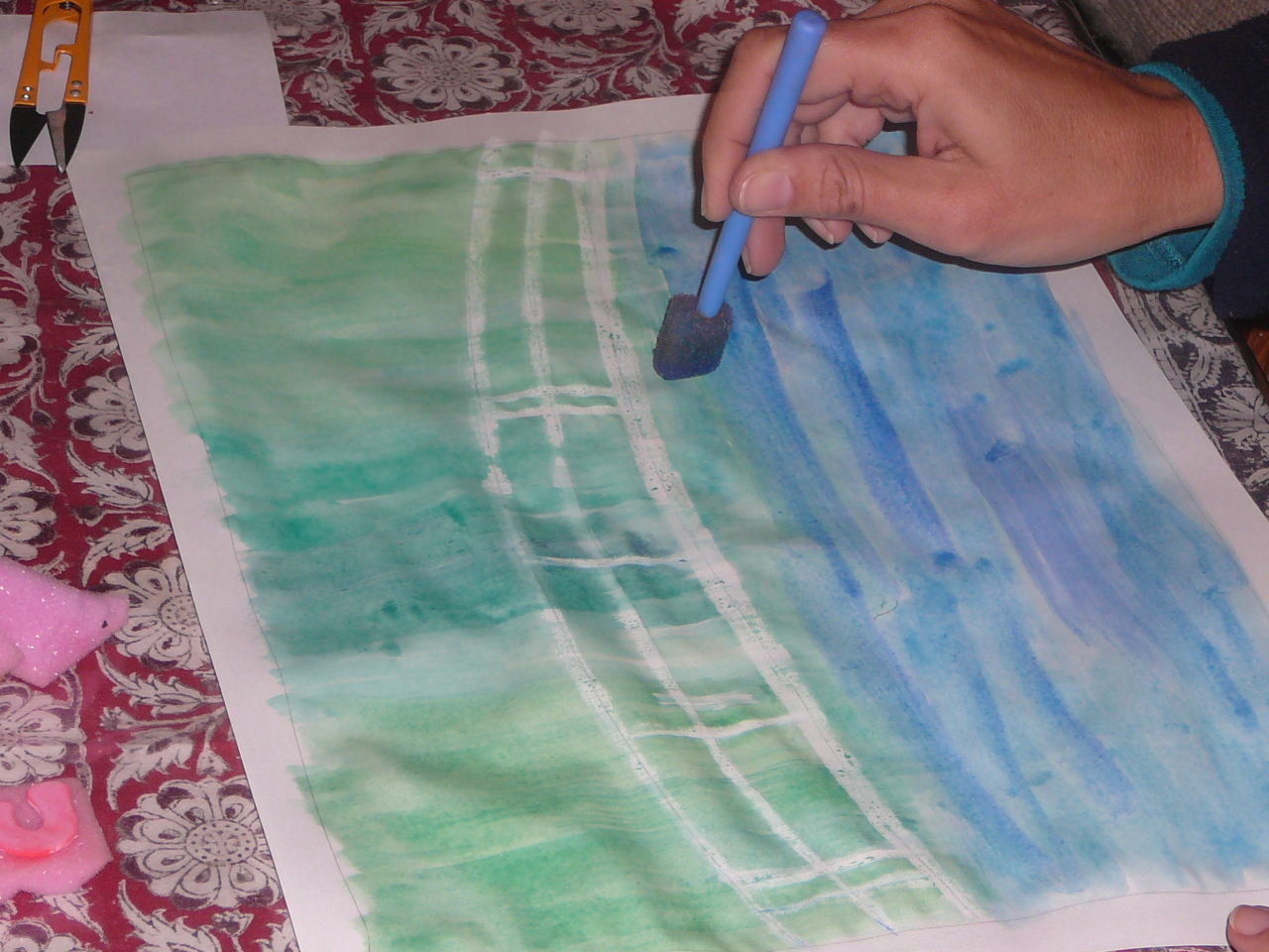 sponge painting the water - Monet Coloring Pages Water Lilies