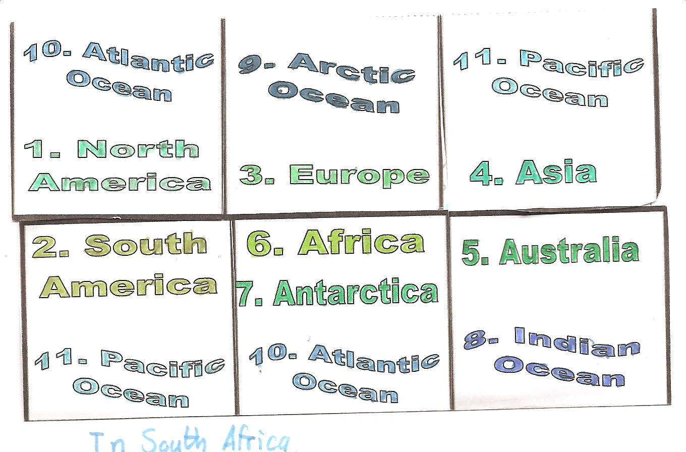 Geography practical pages continents and oceans of the world a world map with 6 flaps great for revision buycottarizona Choice Image