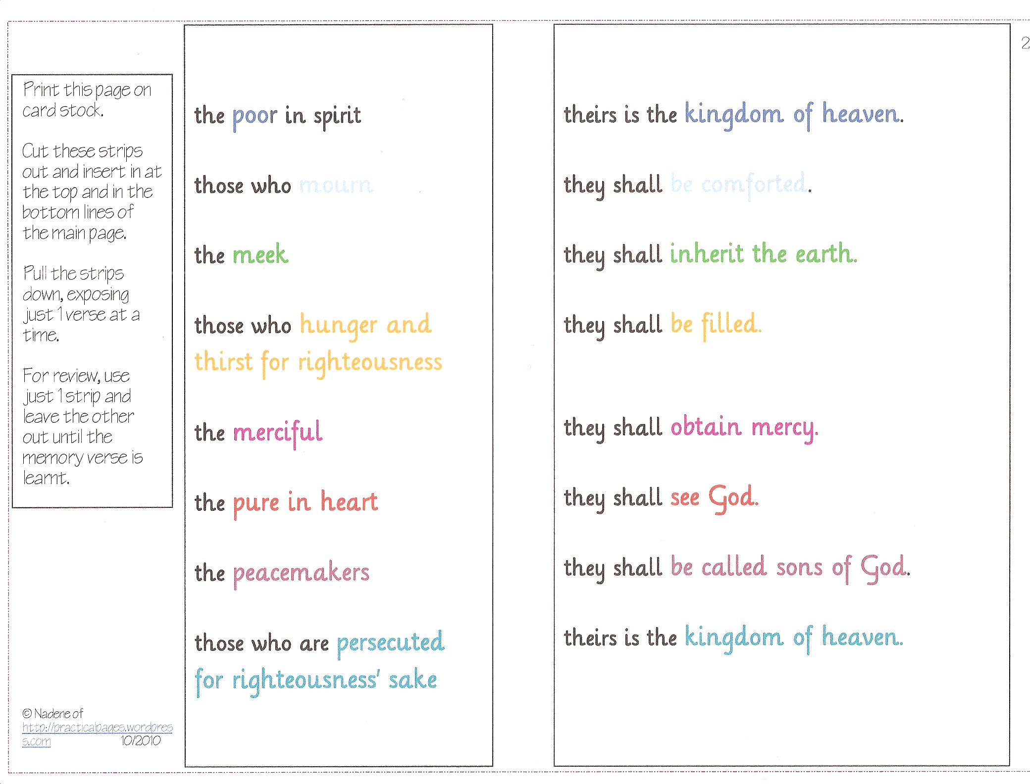 Worksheets Beatitudes Worksheet memorizing the beatitudes practical pages strips