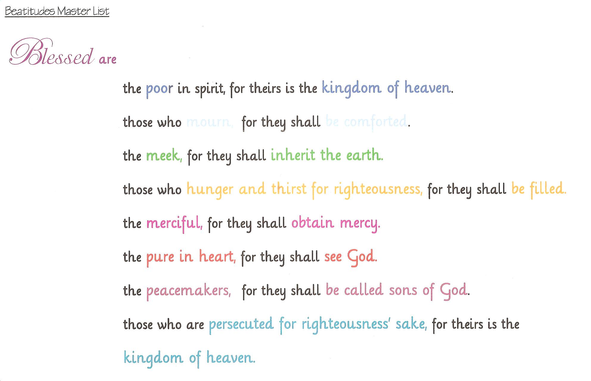memorizing the beatitudes practical pages