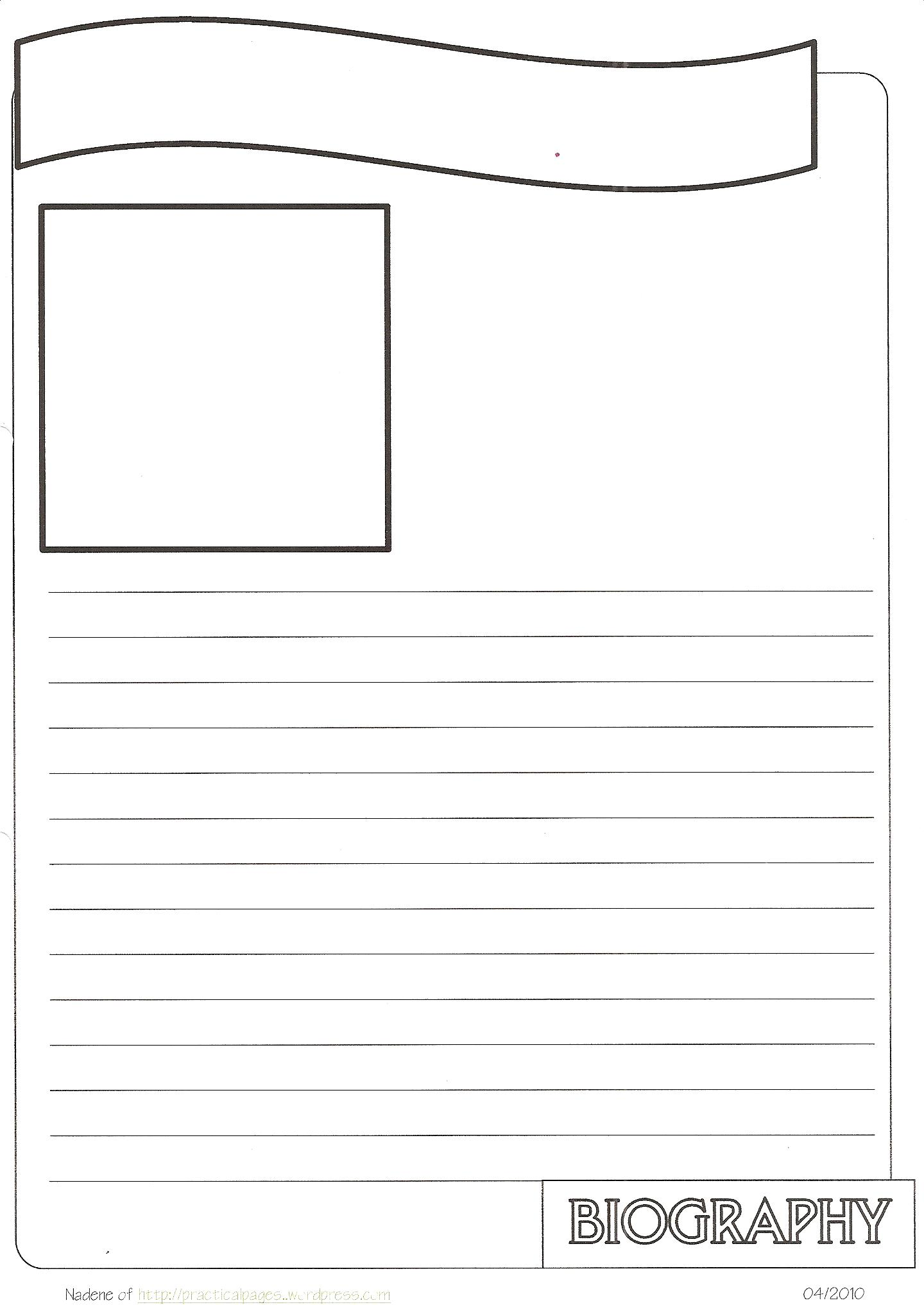 biography notebook pages
