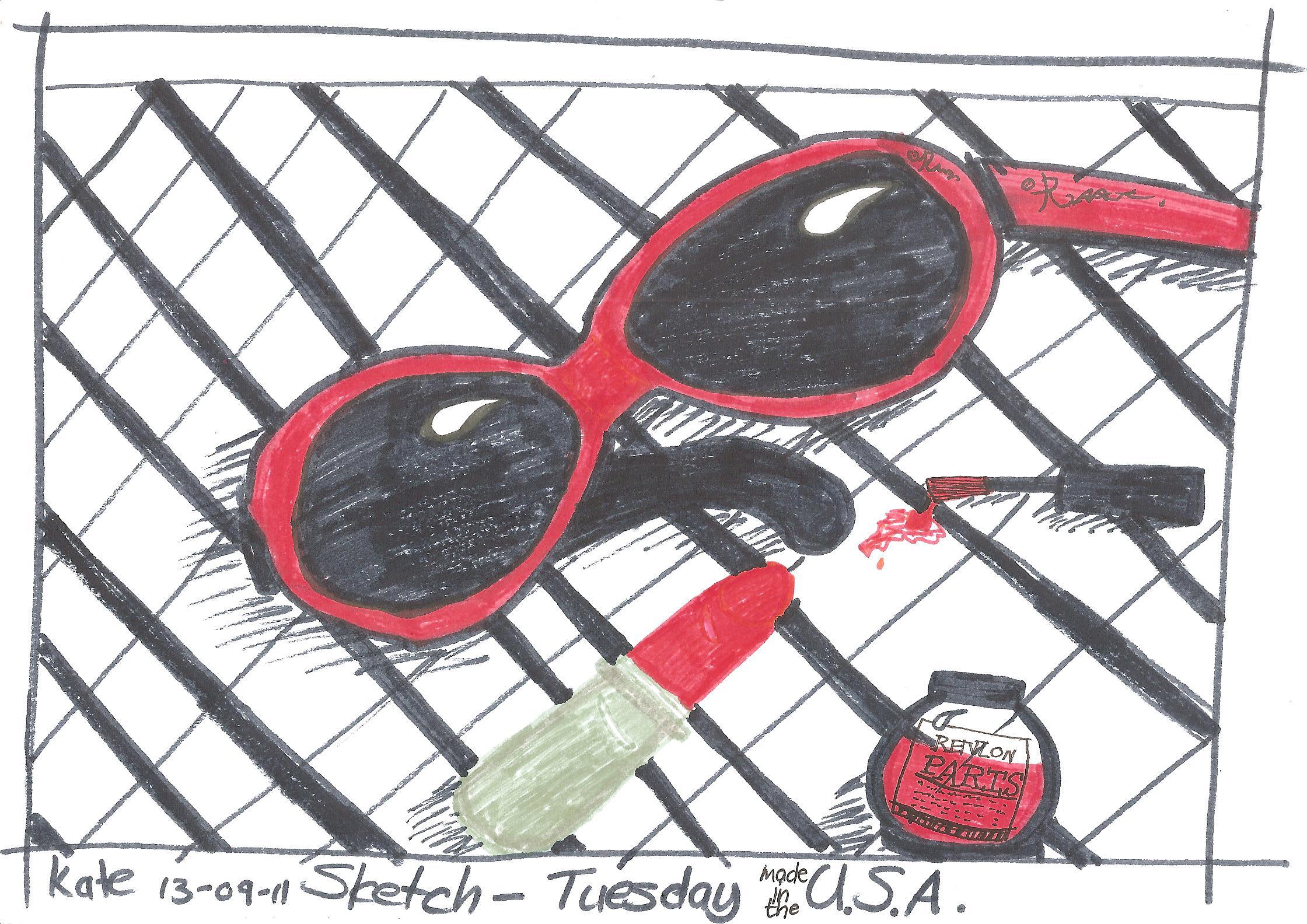 Nail Polish Sketch Nail varnish & sunglasses