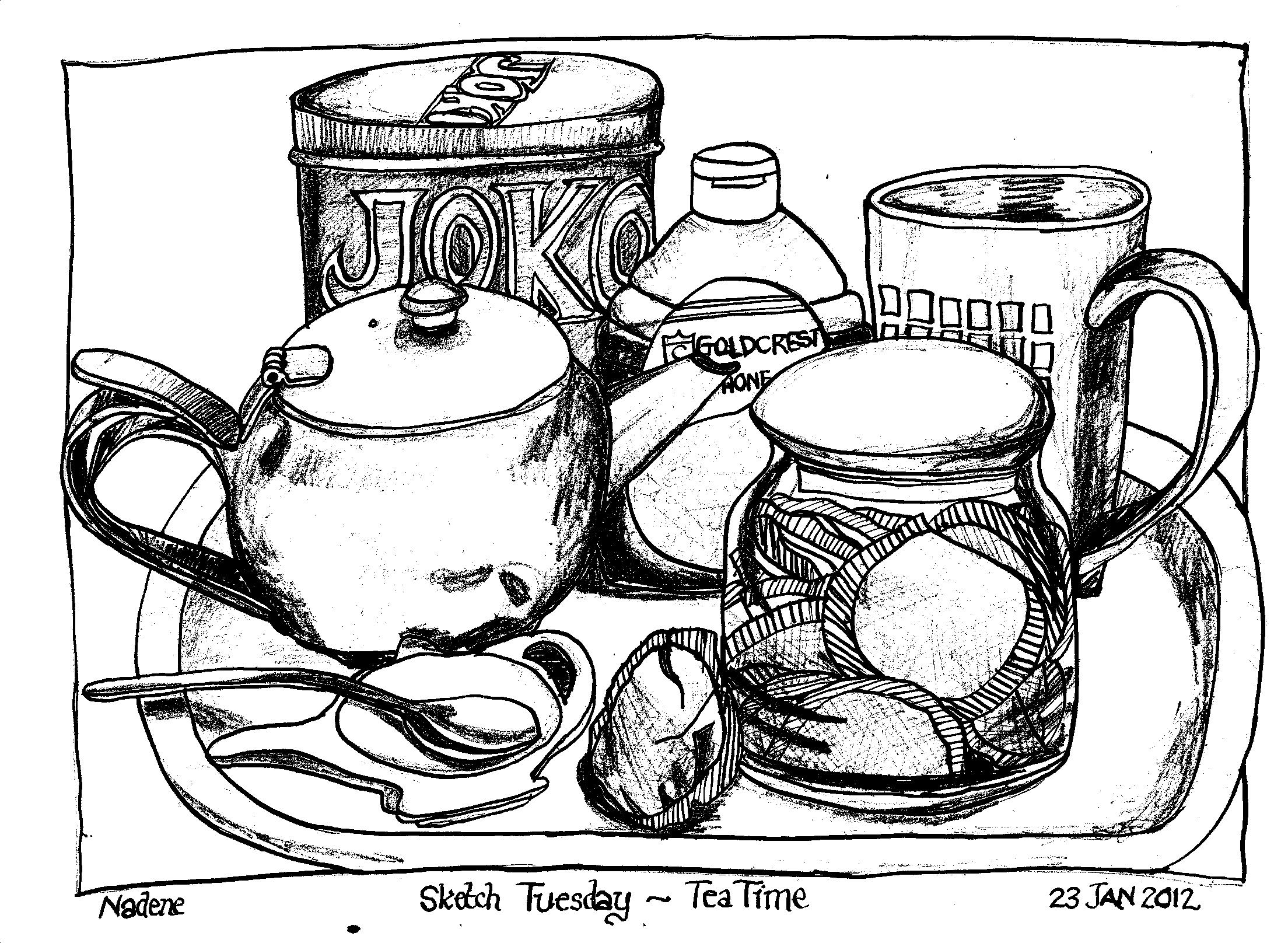 Kitchen Objects Drawing Drawn From a Still Life