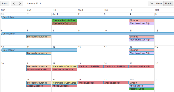 Google Homeschool Calendar Jan2013