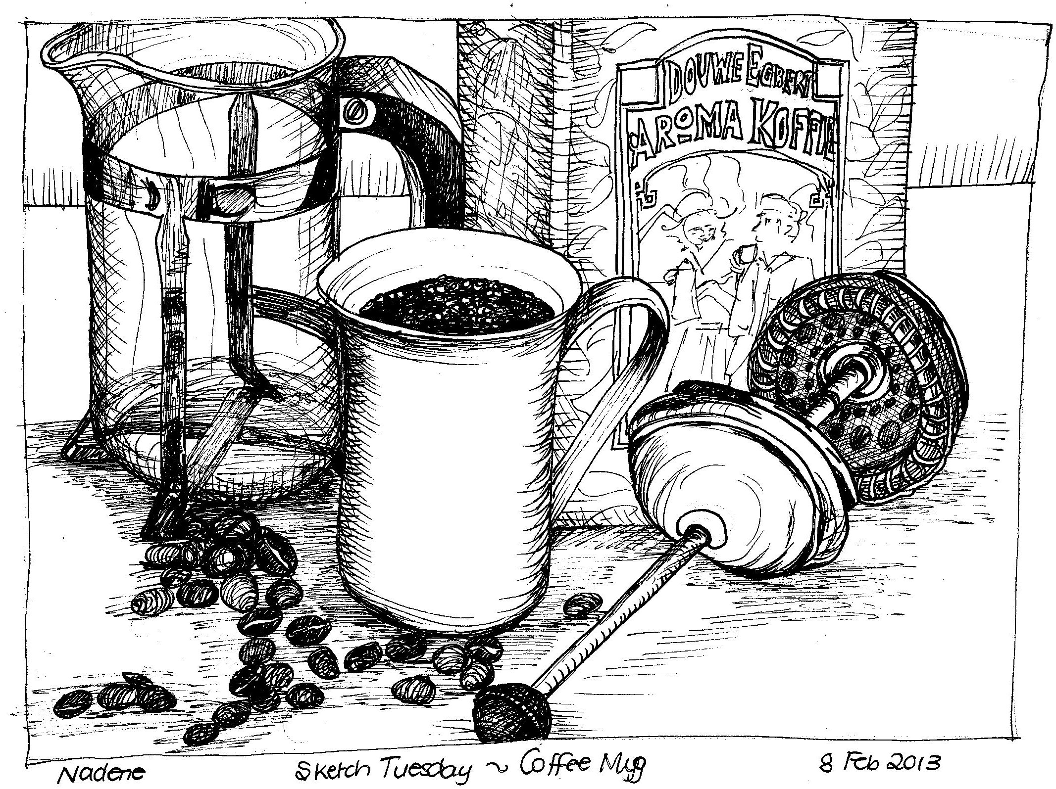 Coffee cup sketch - I Penned My Sketch Adding Details As The Chopin Cd Draws To The End Coffee Mug 002