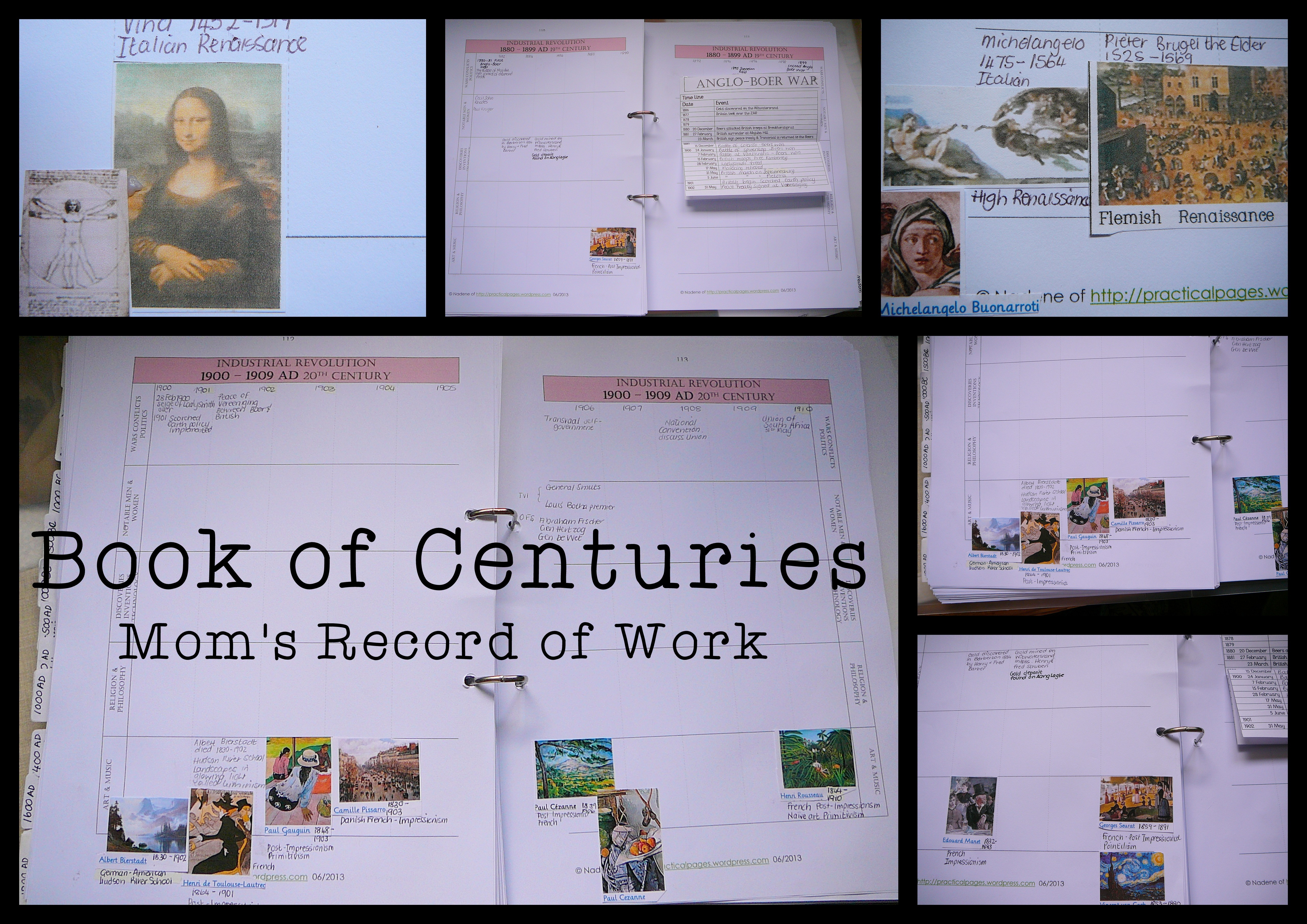 Mom S Book Of Centuries Record Of Work Practical Pages