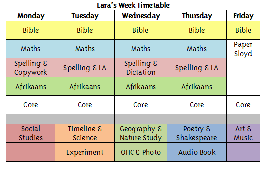 Lara's Week Timetable