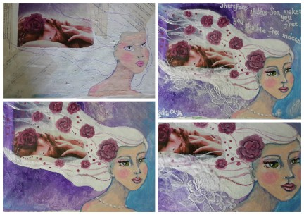 I found a soap advert that inspired me. I loved the purple color and the rose in her hair. I layered old sewing pattern paper on my background. I realized that the pattern paper spoke of my constant