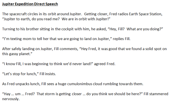 Direct Speech example