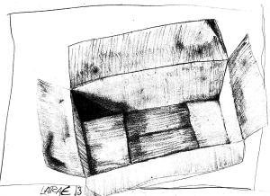 Lara sketched her box looking down into the box on the floor! I love all the angles and shadows!